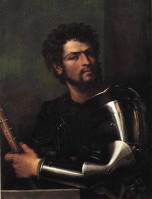 Portrait of a Man in Armor | Sebastiano Del Piombo 1512 | oil painting
