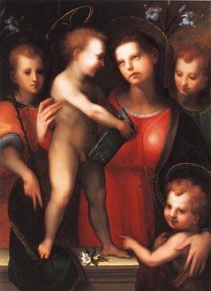 The Virgin and Child with the Young Saint John the Baptist | Domenico Di Bartolomeo Ubaldini 1525 | oil painting