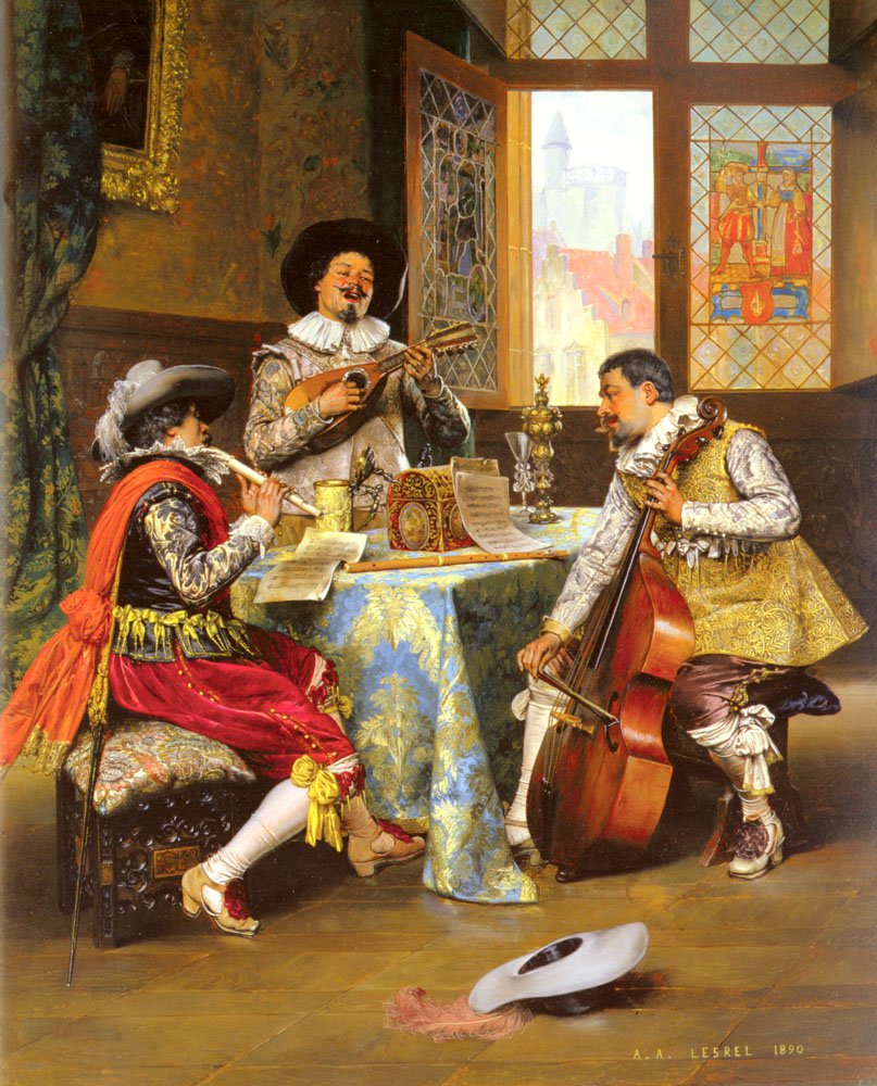 The Musical Trio | Adolphe Alexandre Lesrel | oil painting