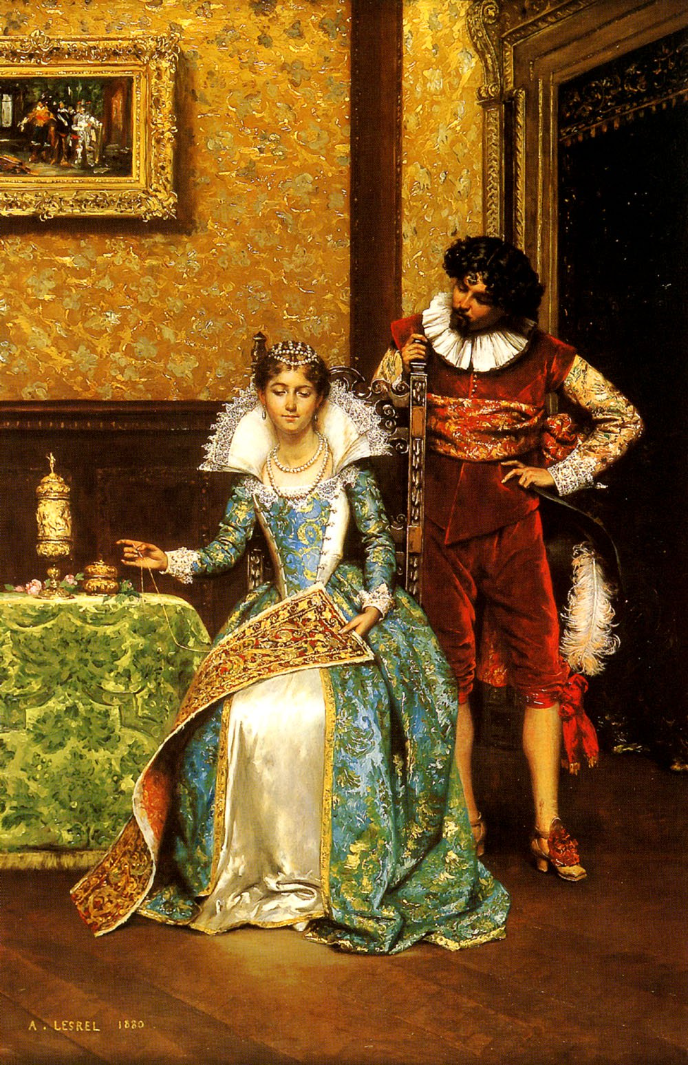 The Attentive Courtier | Adolphe Alexandre Lesrel | oil painting