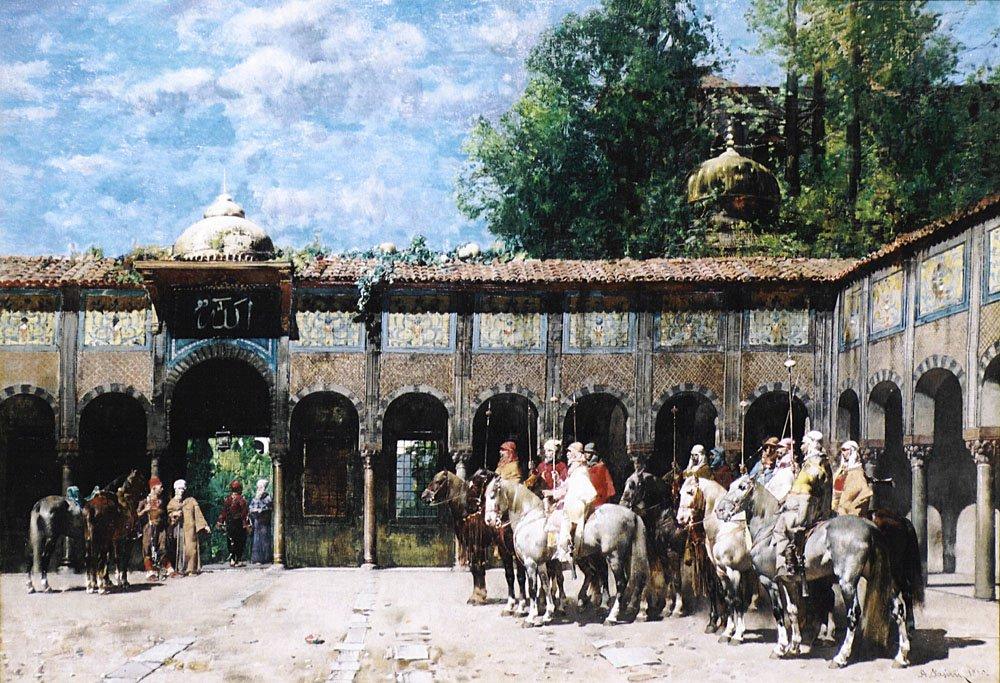 Cavalieri Circassi Che Aspettano Il Loro Capo | Alberto Pasini | oil painting