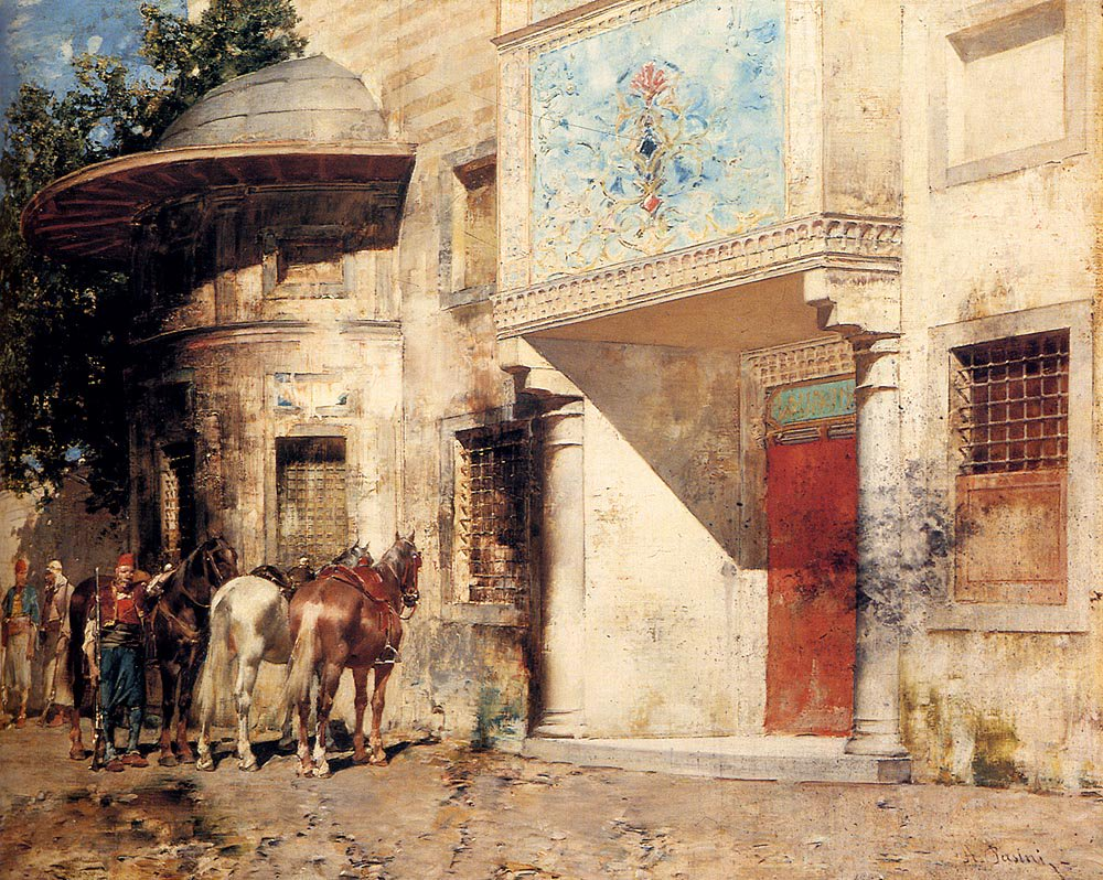 Outside The Mosque | Alberto Pasini | oil painting