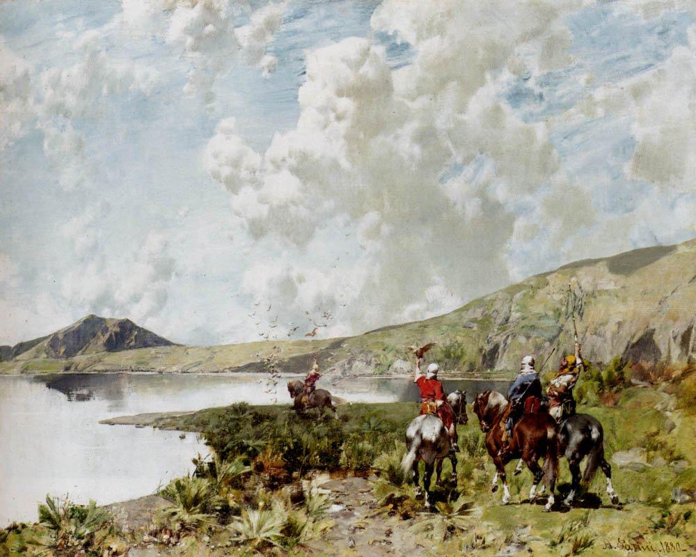 The falconers 1880   Alberto Pasini   oil painting