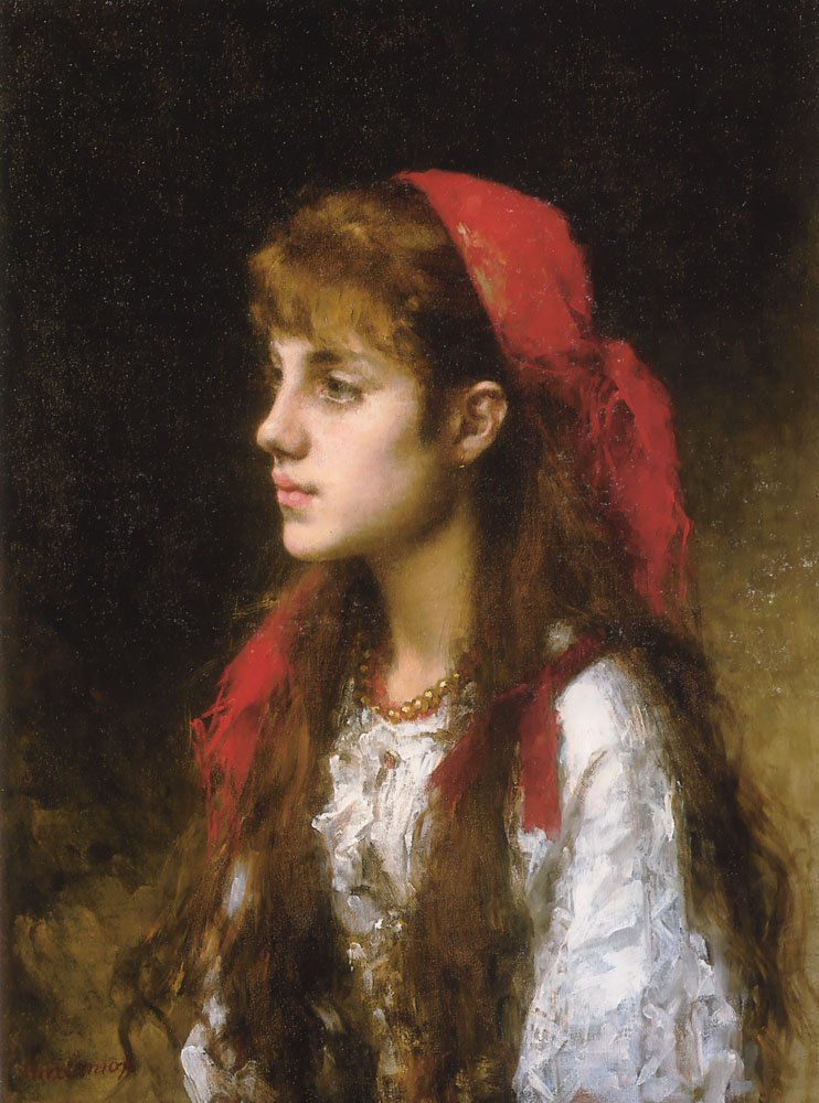 A Russian Beauty | Alexei Alexeivich Harlamoff | oil painting