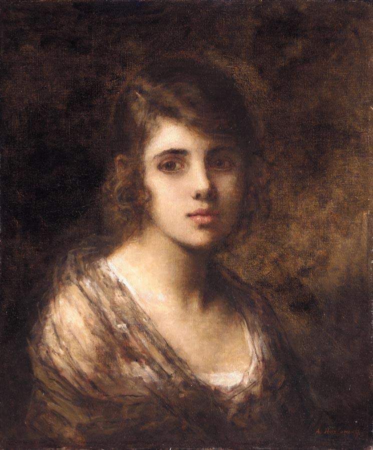 Young Brunette | Alexei Alexeivich Harlamoff | oil painting