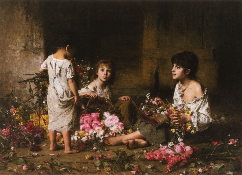 The Flower Girls | Alexei Alexeivich Harlamoff | oil painting
