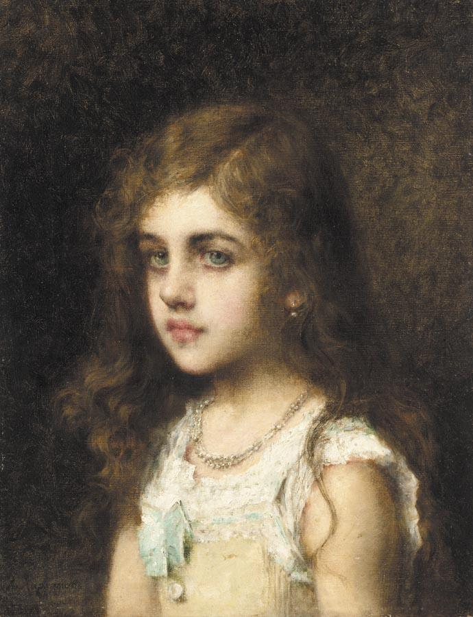 Young Girl with a Turquoise Bow | Alexei Alexeivich Harlamoff | oil painting