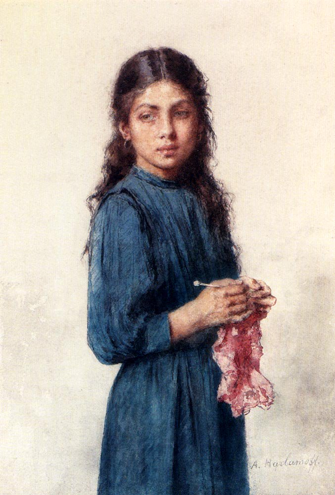 A Young Girl Knitting | Alexei Alexeivich Harlamoff | oil painting