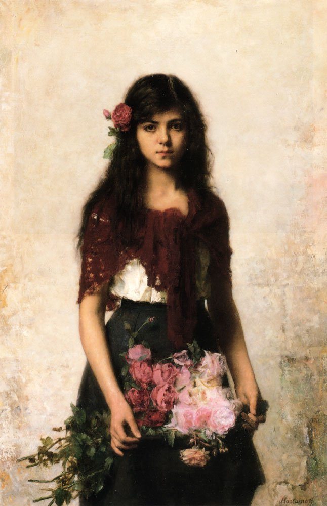 The Flower Seller | Alexei Alexeivich Harlamoff | oil painting