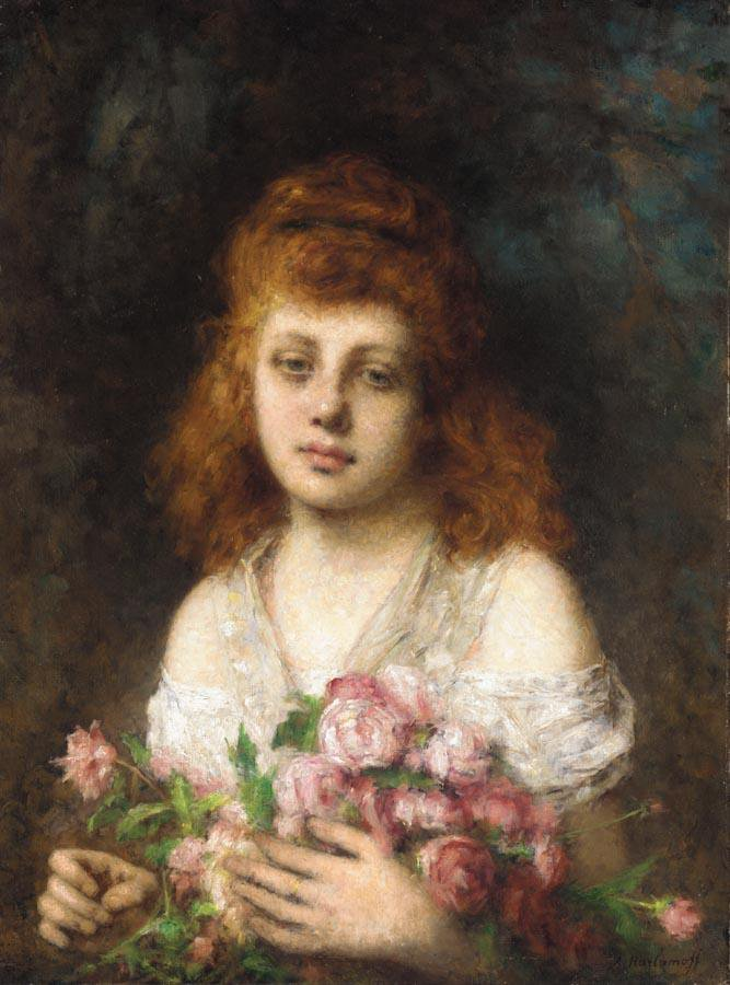 Auburn haired Beauty with Bouqet of Roses | Alexei Alexeivich Harlamoff | oil painting