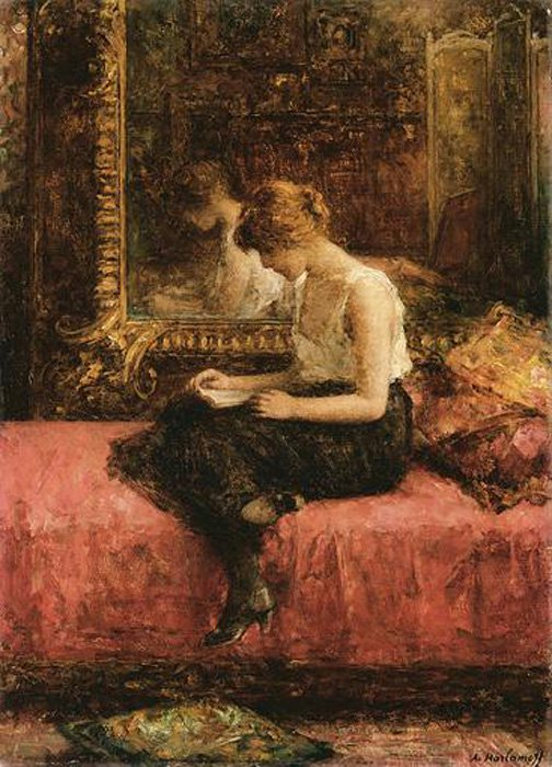 Literary Pursuits of a Young Lady | Alexei Alexeivich Harlamoff | oil painting