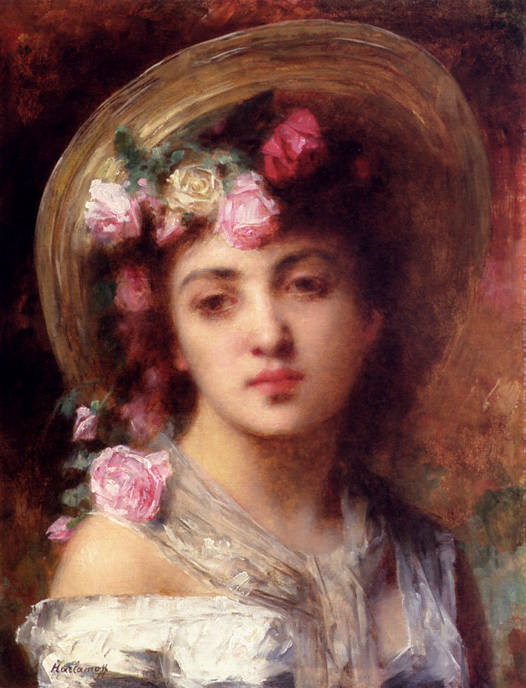The Flower Girl | Alexei Alexeivich Harlamoff | oil painting