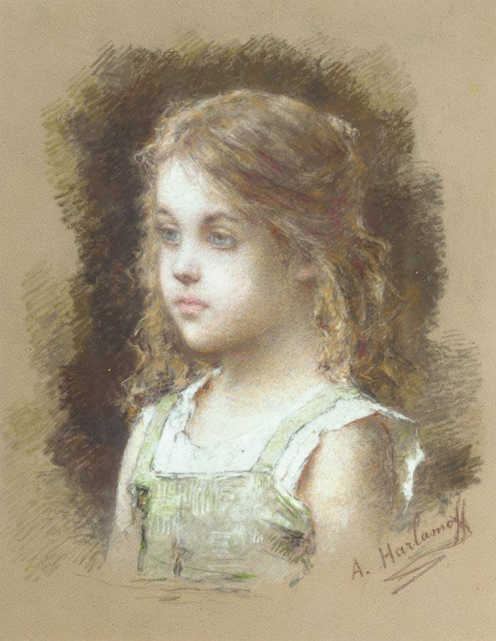 Young Girl in a Green Tunic | Alexei Alexeivich Harlamoff | oil painting
