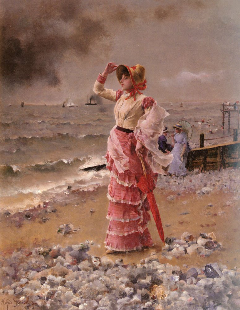 Femme Elegante Voyant Filer Un Vapeur | Alfred Stevens | oil painting