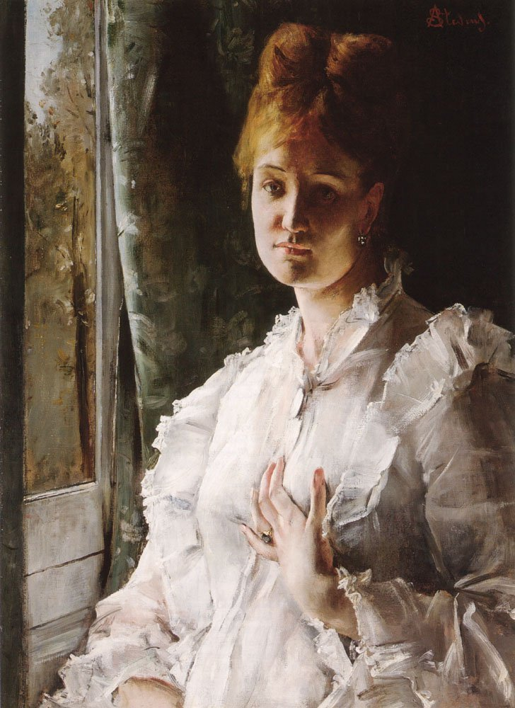 Portrait of a Woman in White | Alfred Stevens | oil painting