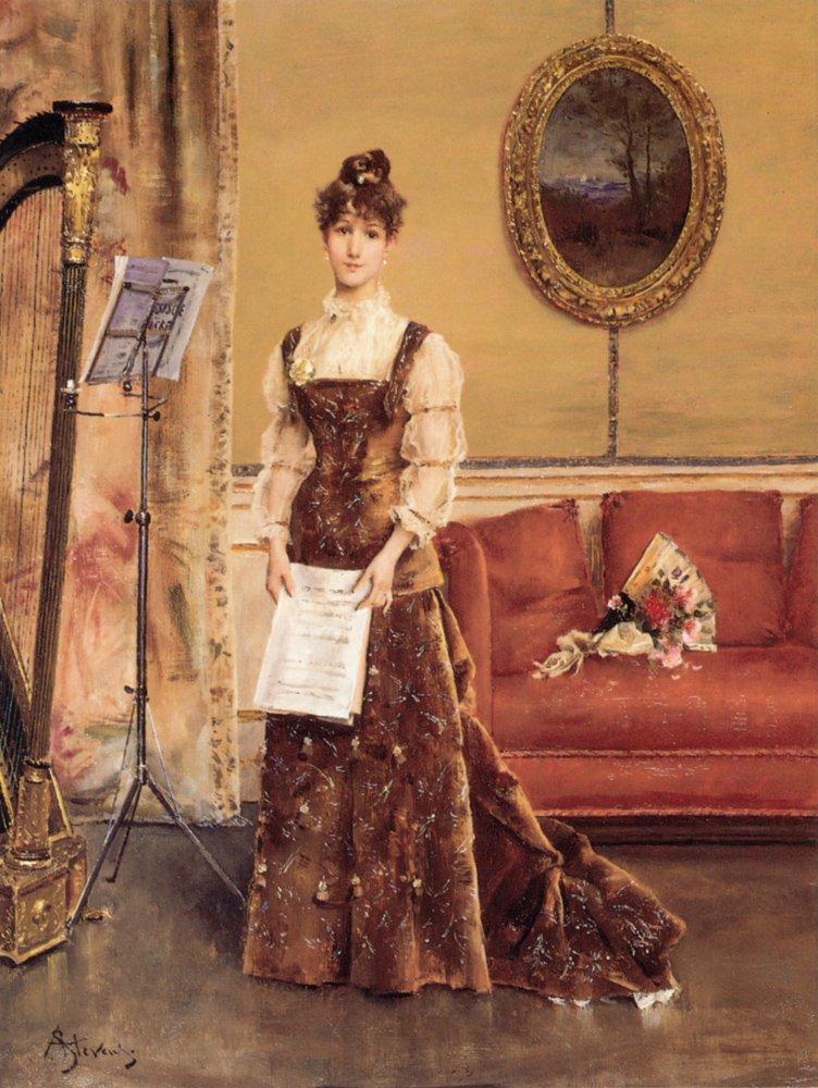 La Femme la Harpe | Alfred Stevens | oil painting