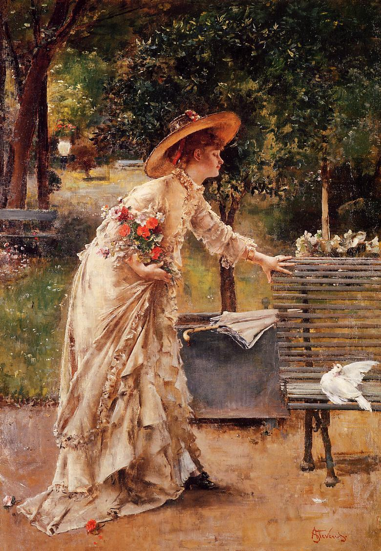 Afternoon in the Park | Alfred Stevens | oil painting