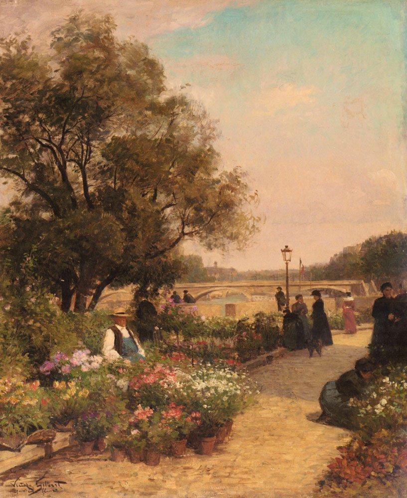 Quai Aux Fleurs | Alfred Stevens | oil painting