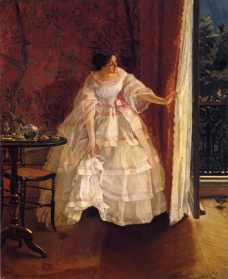 Lady at a Window Feeding Birds | Alfred Stevens | oil painting