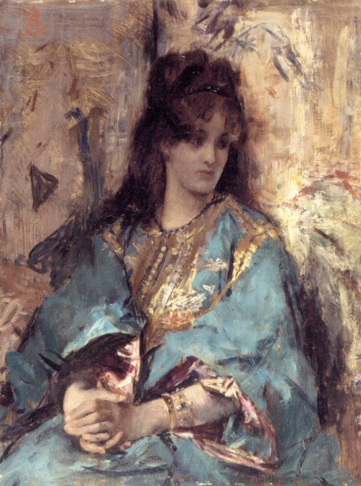 A Woman Seated in Oriental Dress | Alfred Stevens | oil painting