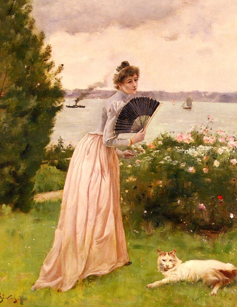 La Dame A L Eventail   Alfred Stevens   oil painting