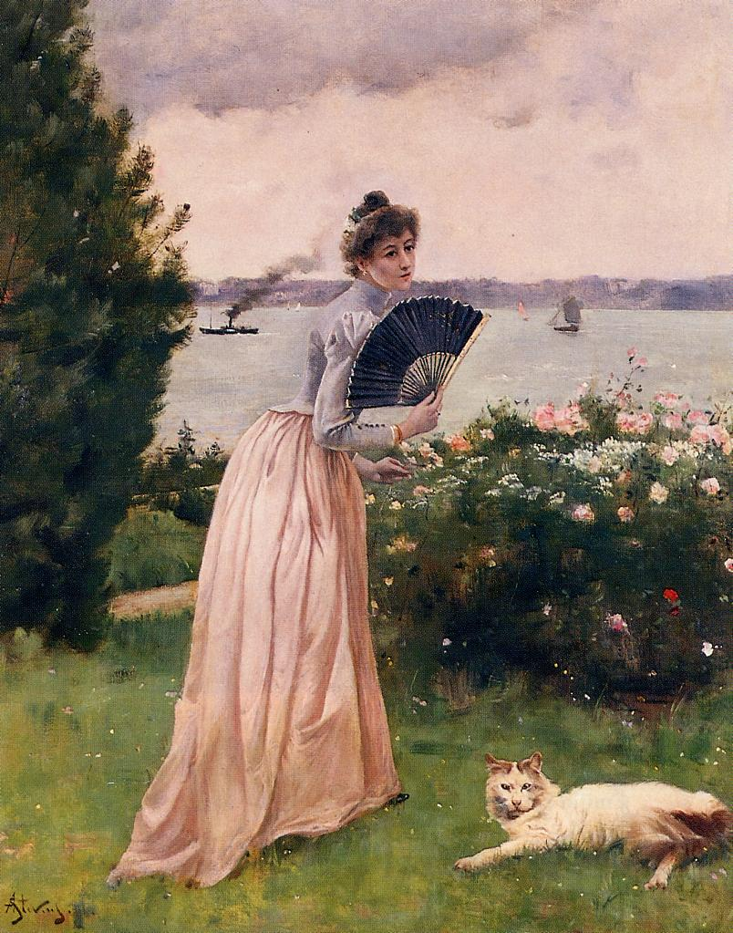Woman with a Fan | Alfred Stevens | oil painting