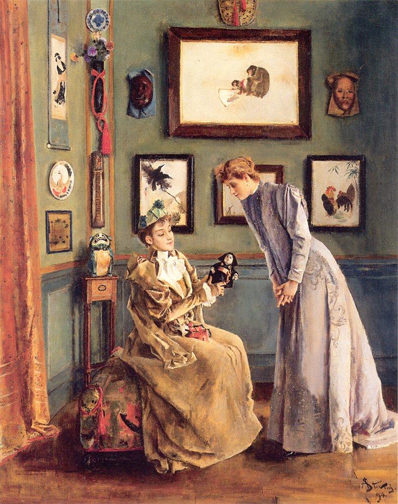 Femme la poupee japonaise | Alfred Stevens | oil painting