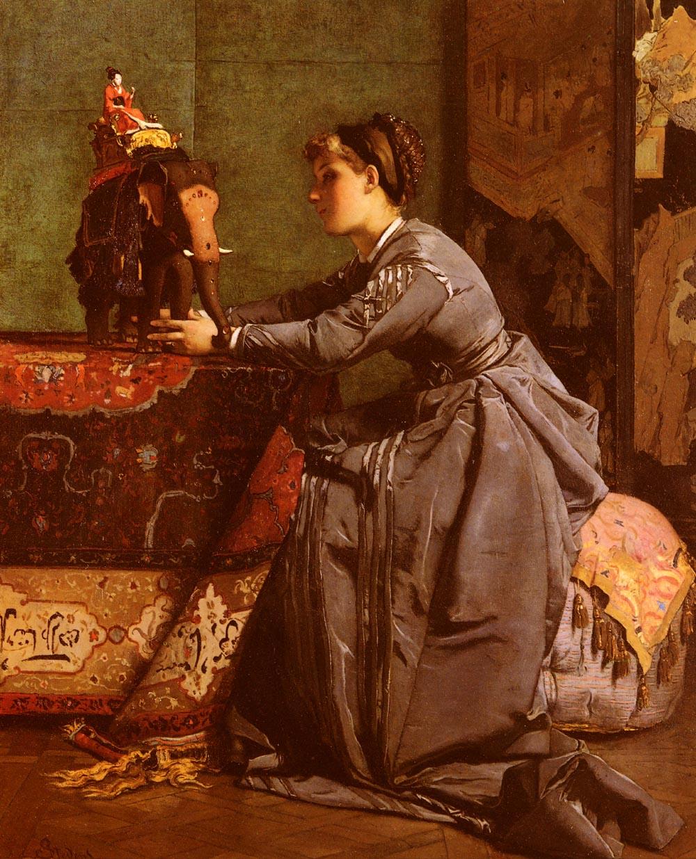 L Inde A Paris Le Bibelot Exotique   Alfred Stevens   oil painting