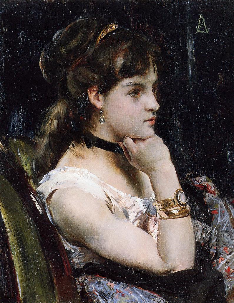 Woman Wearing a Bracelet | Alfred Stevens | oil painting