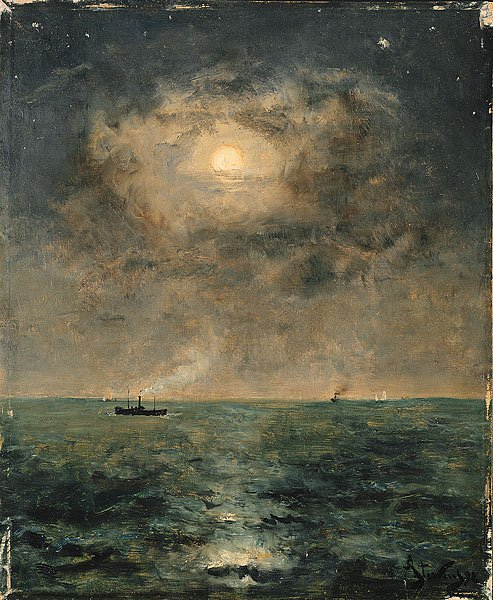 Moonlit seascape | Alfred Stevens | oil painting