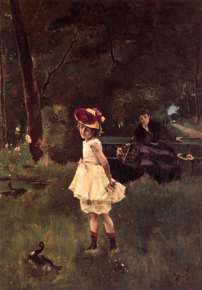La Fillette au Canard | Alfred Stevens | oil painting