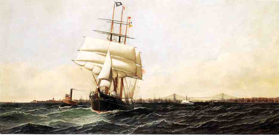 The American Leaving New York Harbor 1884 | Antonio Jacobsen | oil painting