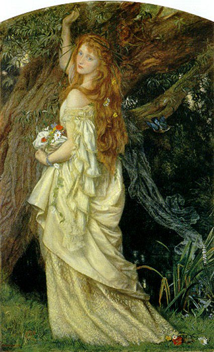 Ophelia And will he not come again 1863 1871 | Arthur Hughes | oil painting