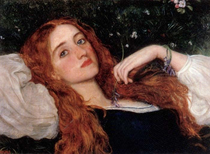 In the Grass second version 1864 1865 | Arthur Hughes | oil painting