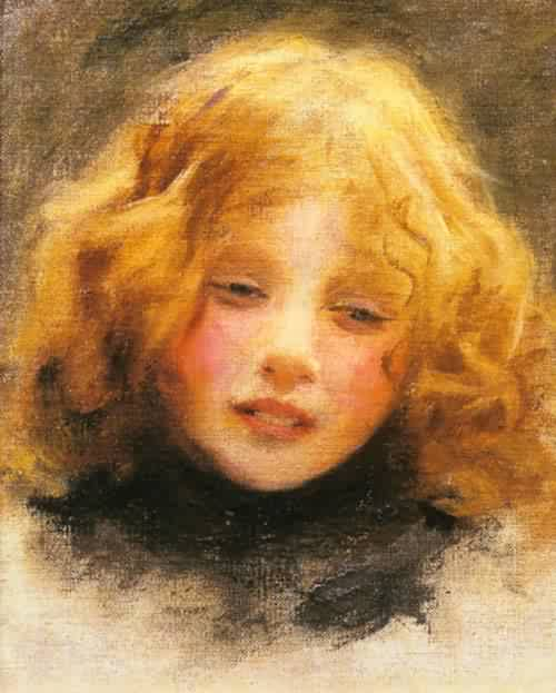 Head study of a young girl | Arthur John Elsley | oil painting