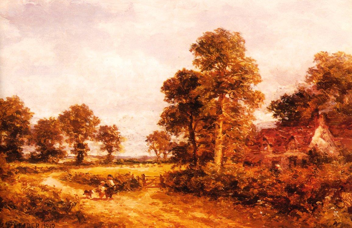 OThe Lane at Whittington Worcestershire 1890 | Benjamin Leader | oil painting