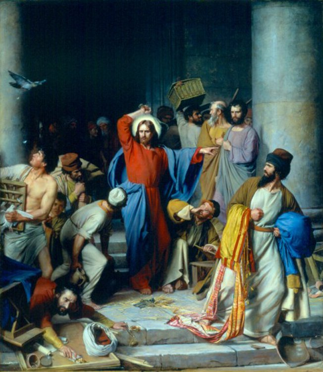 Casting out the Money Changers | Carl Heinrich Bloch | oil painting