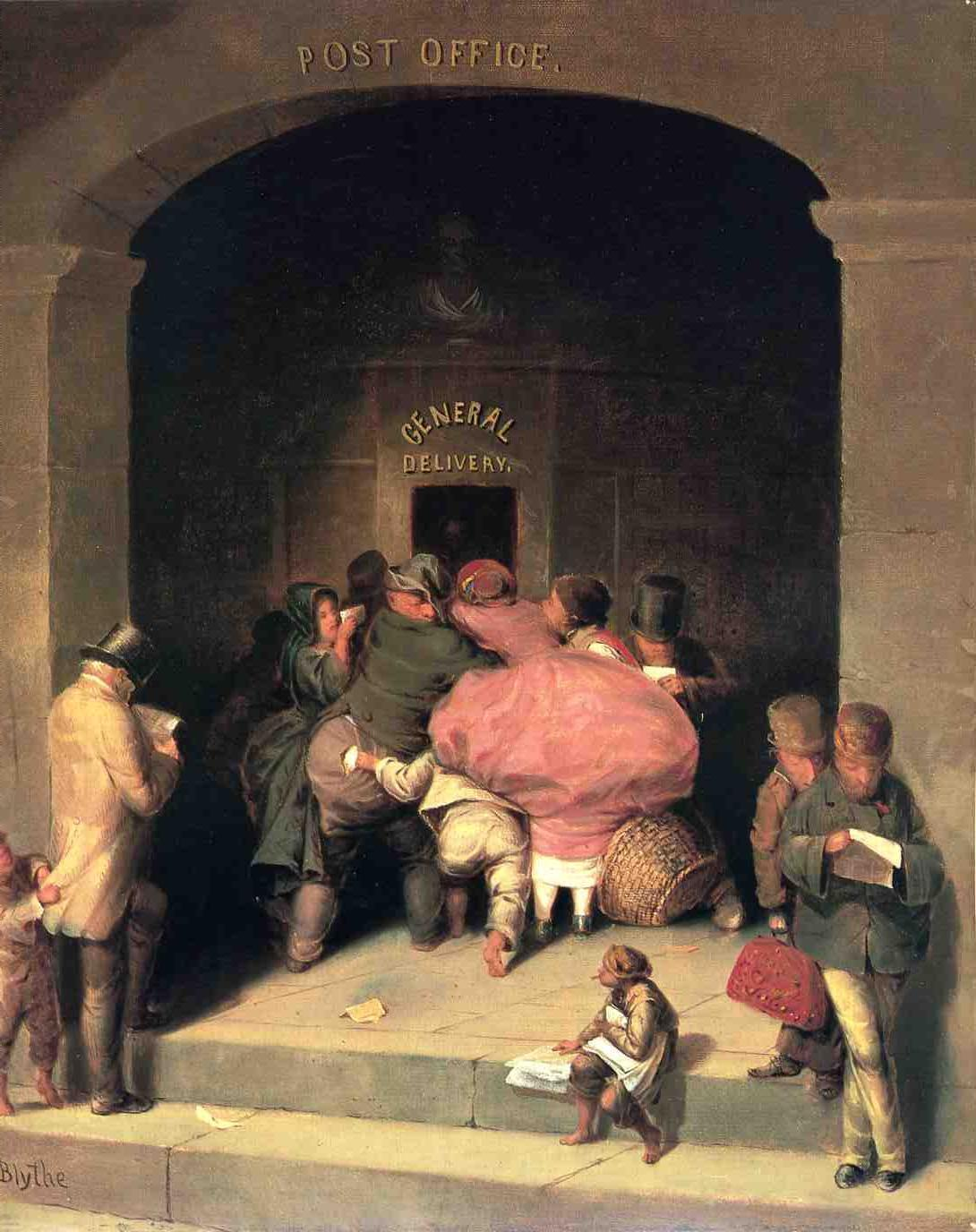 Post Office 1862 1864   David Gilmore Blythe   oil painting