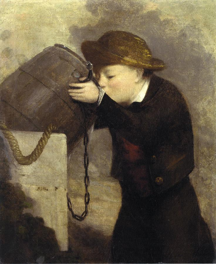 Boy Drinking from a Barrel Date unknown | David Gilmore Blythe | oil painting