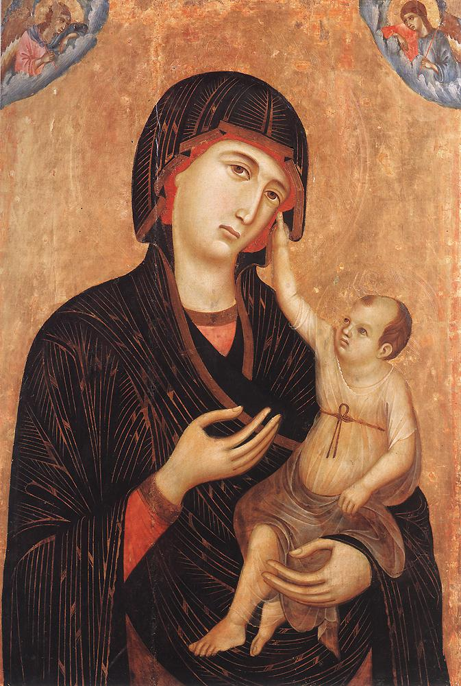 Madonna with Child and Two Angels | Duccio di buoninsegna | oil painting