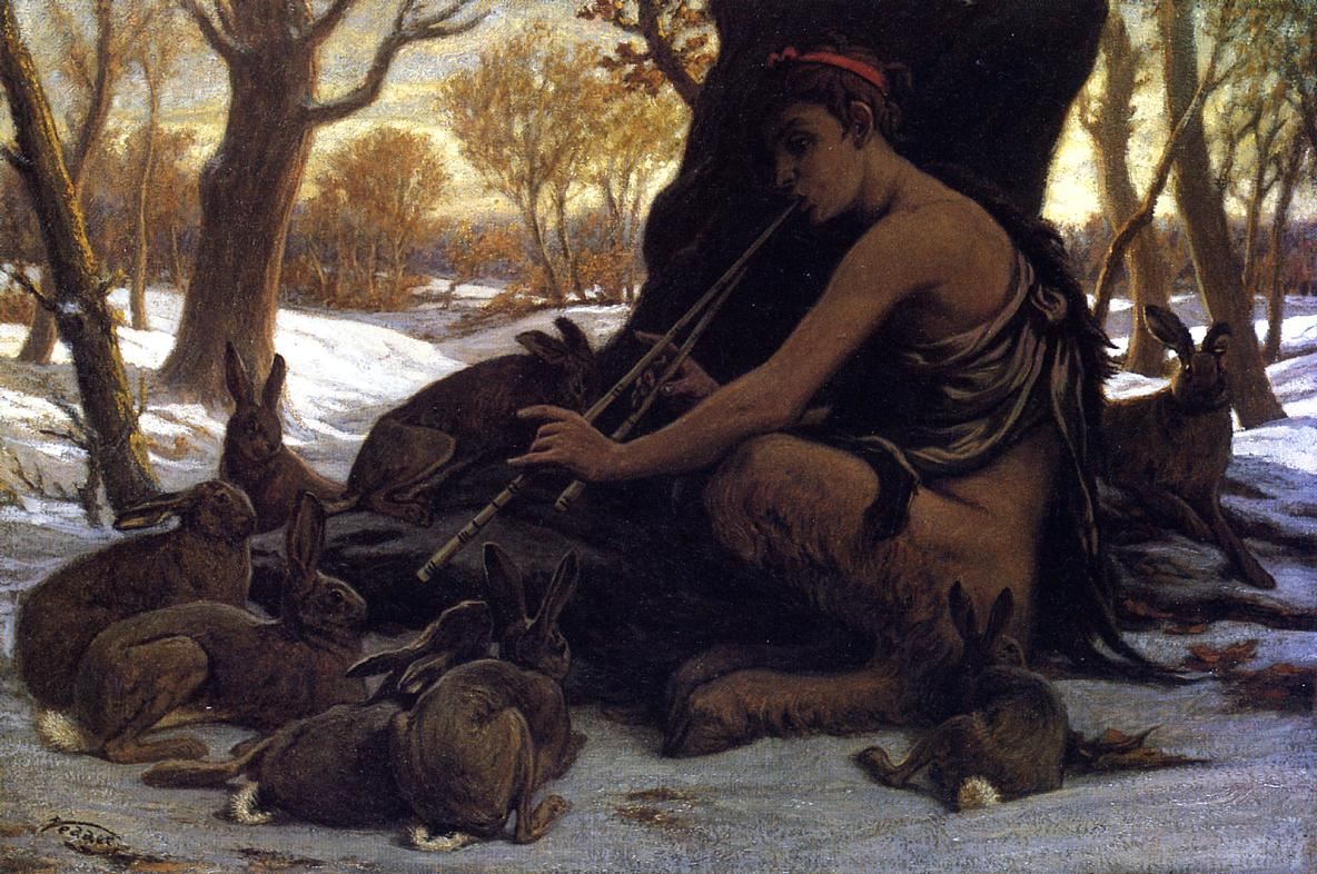 Marsyas Enchanting the Hares 1899 | Elihu Vedder | oil painting
