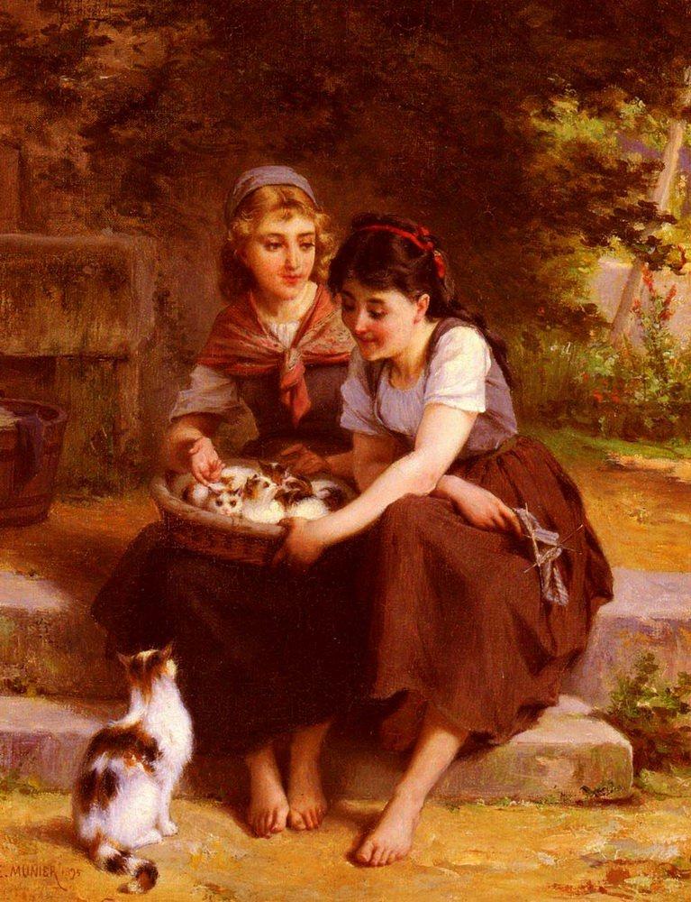 Deux Filles Avec Un Panier De Chatons   Emile Munier   oil painting