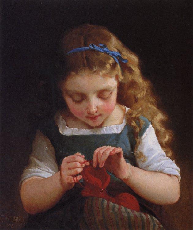 A Careful Stitch   Emile Munier   oil painting