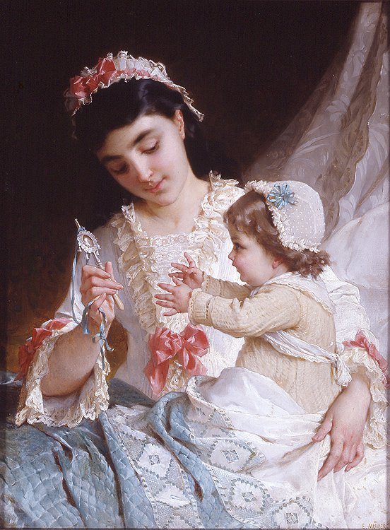 Distracting the Baby   Emile Munier   oil painting