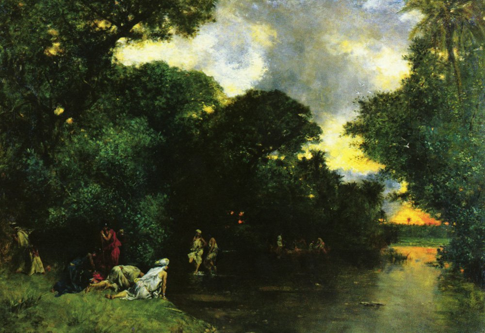 Etang Dans Les Oasis Sahara   Eugene Fromentin   oil painting