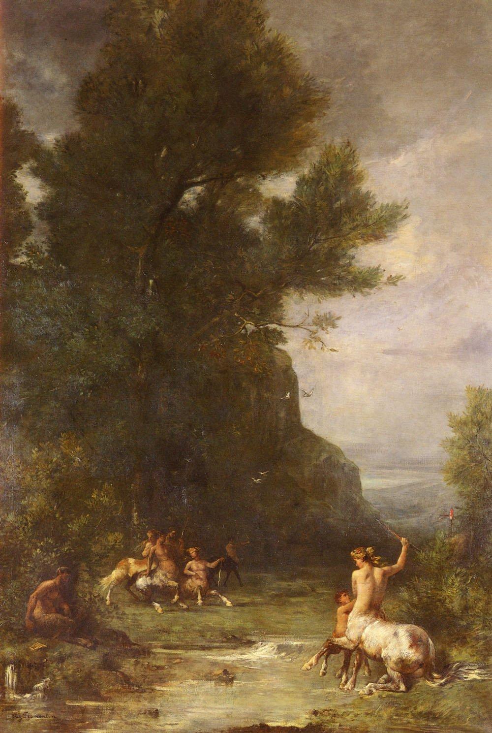 Centaurus Et Centauresses S Exercant Au Tir De L Arc   Eugene Fromentin   oil painting