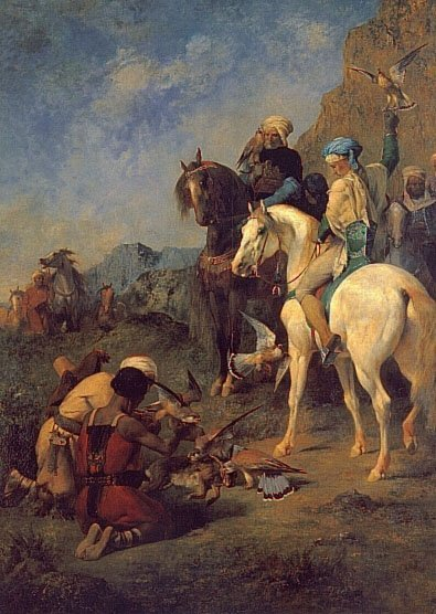 Falcon Hunting in Algeria The Quarry   Eugene Fromentin   oil painting