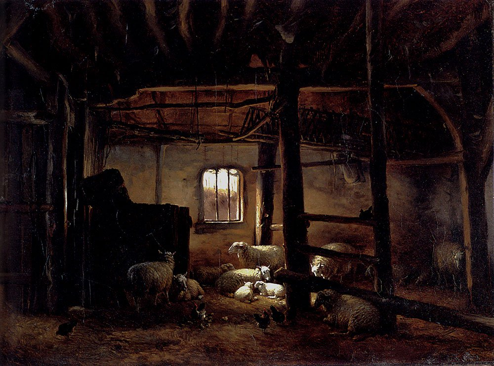 In The Stable 1846 | Eugene Verboeckhoven | oil painting