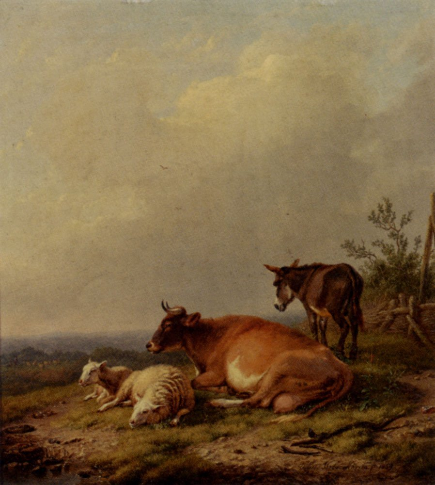 A Cow A Sheep And A Donkeyk 1839 | Eugene Verboeckhoven | oil painting