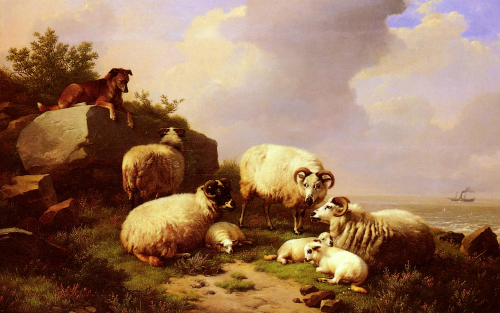 Guarding The Flock By The Coast 1867 | Eugene Verboeckhoven | oil painting